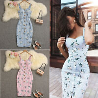 US Women Summer Bandage Sleeveless Bodycon Dress Floral Evening Party Gown Dress
