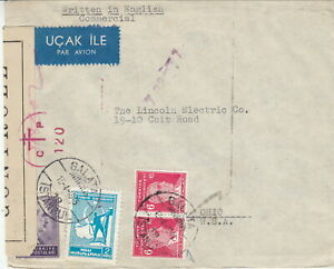 WWII: TURKEY to USA April 1945 CENSORED COVER $50+ (27)