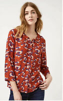 White Stuff red flower floral print 3/4 sleeve tunic top blouse size 6-18