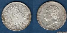 Louis XVIII 1815 - 1824 , 5 Francs Buste nu 1822 A Paris (1) TB / TTB