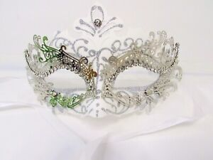 White Silver Masquerade Ball Halloween Mask w/ Stones For Parties Theater