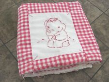Antique Vintage Baby Quilt Crib  Blanket Embroidered Blocks Red & White Checkers