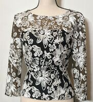 Alex Evenings 3/4 Sleeve Black Blouse With White Soutache Sheer at Top Sz M EUC