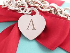 "Tiffany & Co Silver Alphabet Letter A Heart Charm Pendant Bracelet 7.75"""