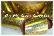 """3"""" TICK TOCK HOLOGRAM CHEER BLING GROSGRAIN RIBBON 4 HAIRBOW BOW TEAM GOLD"""