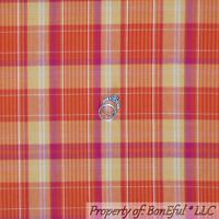 BonEful Fabric FQ Cotton Woven Quilt Orange Pink Yellow White Plaid Stripe Small