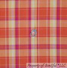 BonEful Fabric Cotton Quilt VTG Orange Pink Yellow White Girl Plaid Stripe SCRAP
