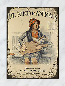 metal sign vintage retro style kind to animals girl dog tin wall art plaque