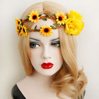 Vintage Sunflower Crown Ladies Hair Band Garland Elastic Headband Bridal Beach