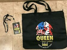 Queen + Adam Lambert 2014 Tour Vip Canvas Zipper Tote Bag + Vip Pass and lanyard