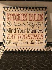 Kitchen Rules Wall Picture Phrase Art Print Framed Wall Picture Home Decor