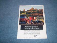 1990 Mopar Accessories Parts Vintage Ad with Jeep YJ Wrangler Cherokee XJ
