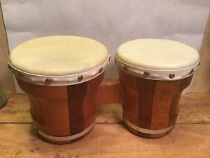 Vintage Wood Bongos 5.5 6.5 Inch