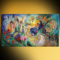 Praise him with the timbrel contemporary Judaic art print by Elena Kotliarker
