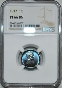 NGC PF-66 BN 1912 Matte-Proof Lincoln Cent, Jaw-Dropping, Sapphire toning!