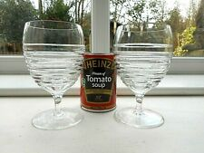 PAIR OF LARGE ROYAL DOULTON CRYSTAL INCISED BANDS WINE GOBLETS