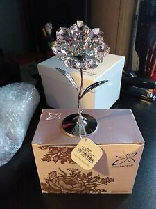 Crystocraft Flower Crystal Ornament With Swarovski Elements Gift Boxed Pink