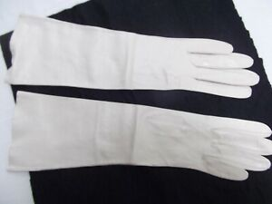 vtg ivory long elbow gloves sz 6.5 kid skin leather 15in long