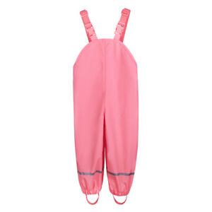 Kids Rain-proof Outdoor Pants Waterproof Trousers Children Solid Bib Long Pants