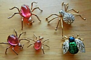 Vintage costume jewelry rhinestone insect brooches, spider, bee, lot of 5