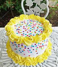 Confetti Fake Cake with Yellow Rosette Swirls Trim Photo Props Birthday Decor