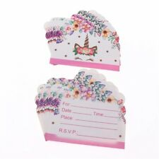 10pcs/pack Cute Unicorn Themed Party Invitations For Birthday Pink Floral