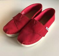 TOMS Youth Suede Shoes Red Stitch Flat Slip On Hook and Loop Closure Size 3.5
