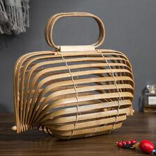 Retro Women Bamboo Handbag Lady Tote Bags Lantern Summer Beach Bag