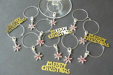 10 CHRISTMAS PINK SNOWFLAKE HEART LOBSTER CLASP WINE GLASS CHARM DECORATION