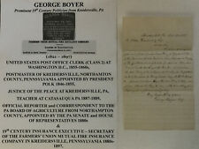 JUSTICE POSTMASTER KREIDERSVILLE PA FIRE INSURANCE EXEC BOYER LETTER SIGNED 1888