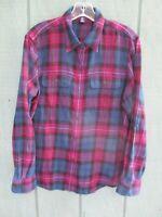 Chaps Women's SIze Large 100% Cotton Plaid Long Sleeve Flanne Button-Front Shirt