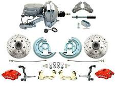 1964-1972 Chevelle A Body Disc Brake Kit Wilwood RED Calipers & Chrome Booster