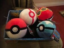 TOMY 4 X POKEMON POKEBALL SOFT TOYS DIVE, POKEBALL, REPEAT, PREMIER DISPLAY BOX