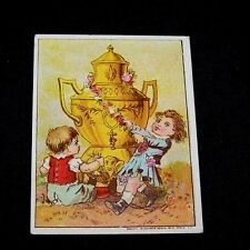 ANTIQUE TRADE CARD-DILWORTH'S COFFEE-VICTORIAN-CHILDREN-URN LOGO