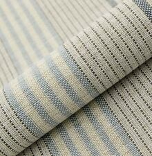10M PRESTIGIOUS SOFT THICK UPHOLSTERY CURTAIN CREAM BLUE STRIPE FABRIC 54""