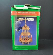"""Vintage Windmill Carousel Pyramid Nativity Holiday 3 Tier Candle Power Box 18""""G2"""