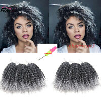 "3pcs Ombre 8"" Mali Bob Afro Kinky Curly Synthetic Crochet Braids Hair Extensions"