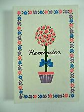 Vintage Birthday Anniversary Reminder Address Book Pink Flowers Floral Retro