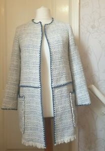 ZARA Size S Cream & Blue Cotton Tweed/Bouclé Long Open Jacket- Fringing, Pockets