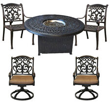 "Propane Fire Pit Elisabeth Round Table 52"" With Flamingo Chairs /Swivels Bronze"
