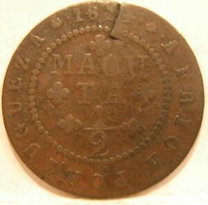Angola Portuguese Colony 1814 Copper 1/2 Macuta Circulated Poor Condition Rare