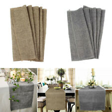 Retro Linen Natural Burlap Jute Table Runner Wedding Tablecloth Banquet Decor
