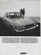 1970 Fiat 124 Sport Coupe Original Vintage Print Car Ad