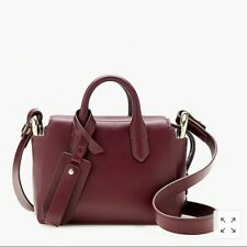 J Crew Harper Mini Satchel Handbag Burgundy Italian Leather Vintage Cabernet NWT