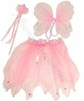 Pink White Fairy Wings Wand and Tutu Fancy Dress Set Girls Costume Angel Dress