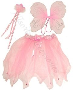 Pink White Fairy Wings Wand and Tutu Fancy Dress Set Girls Costume Angel Dress