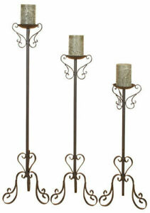 Wrought Iron | Rustic Unique Style Floor Candle Holders | Black Powder Coated
