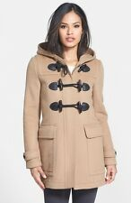 Burberry Brit Blackwell Camel Duffle Wool Toggle Hooded Jacket Coat US 8