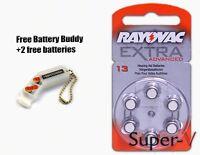 Rayovac Hearing Aid Batteries Size 13 x60 Mini Pack + 2 Batteries/Keychain