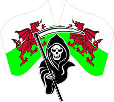 Racing Grim Reaper Skull WELSH Flags Wales Car van bike Sticker Decal #9